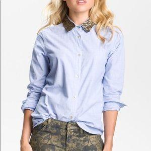 Maison Scotch sequin collar button down shirt